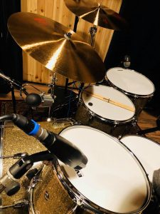 """Devils Drums"" - photo from Dennis Leeflang's studio, during the tracking of ""Devil's Lament""."